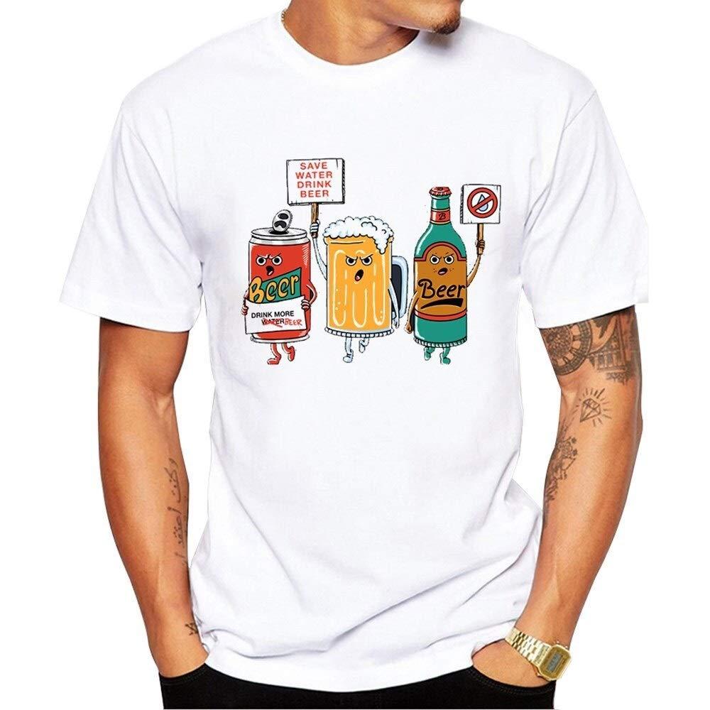 Guomao /Économisez De leau Et Buvez De La Bi/ère T-Shirt Homme T-Shirt Imprim/é Couleur : White, Size : XXL