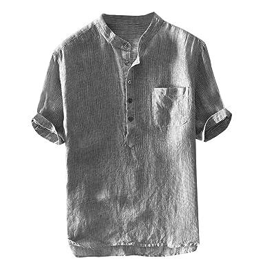 ◇ Rayas de algodón y Lino Manga Corta Camiseta Hombre ◇xinxinyu ...