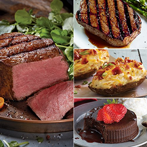 Kansas City Steaks 2 (6 oz) Super Trimmed Filet Mignon, 2 (6 oz) Top Sirloin, 4 (5 oz) Twice Baked Potatoes with Cheddar and Bacon and 4 (4