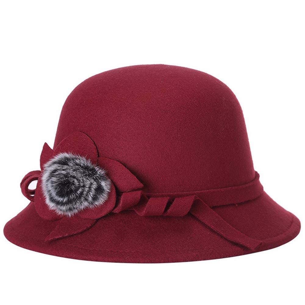 YOUZHILAN Women Flower Retro Fedora Felt Bowler Hat for Coktail Winter