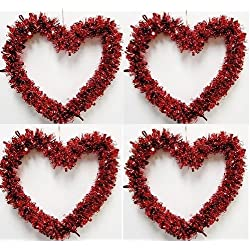 "4 Set of Small 5"" Valentine's Day Wreath RED Heart Tinsel Ornaments Hanging decoration"