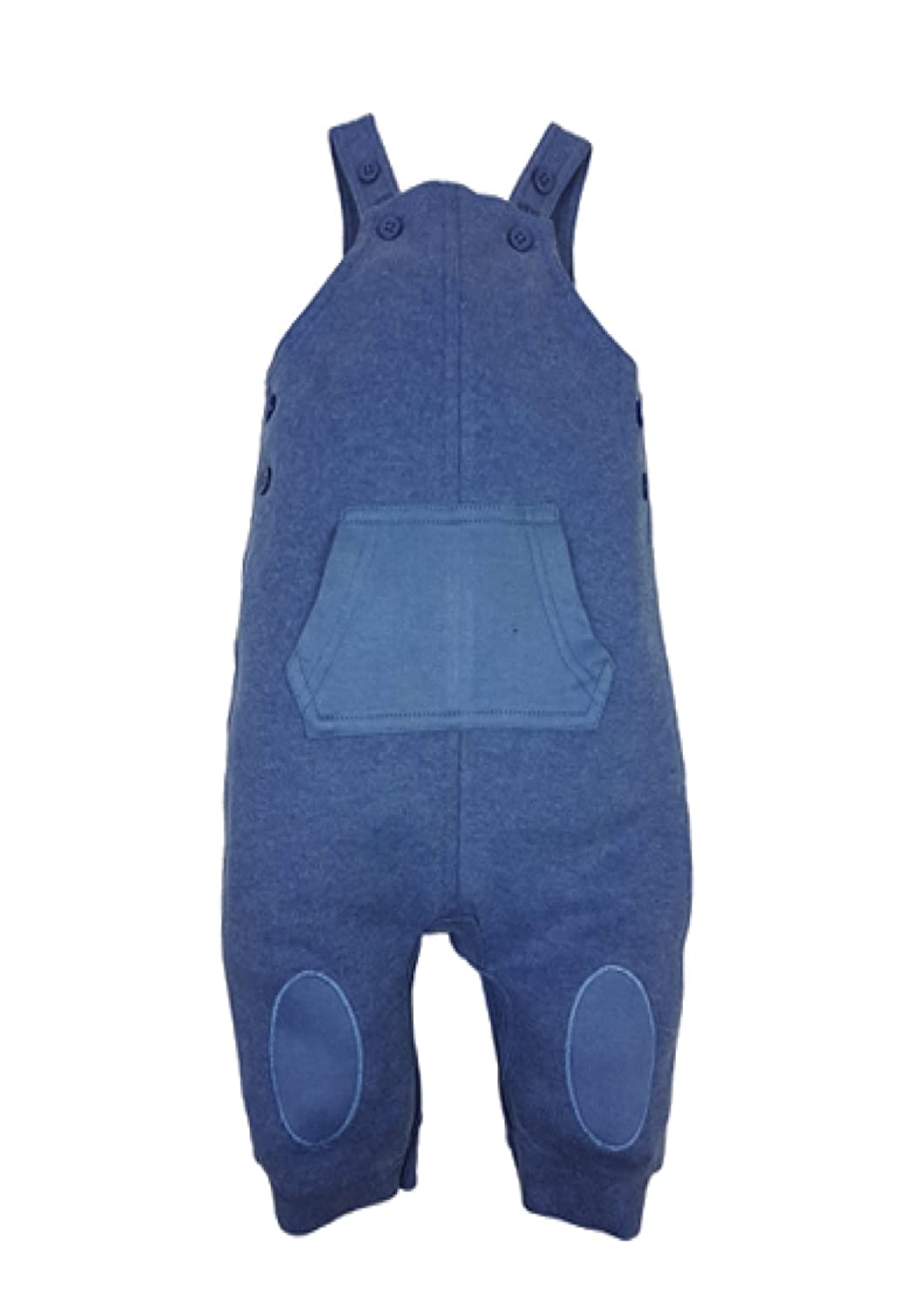 Baby Boys Blue Dungarees with Knee Patches and Kangaroo Pocket