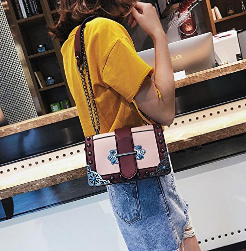 Female Fashion Leather New Pu Handbag Bag Rivet Chain Vintage Gwqgz Designer Shoulder Crossbody Quality Women Women's vBTtxtq