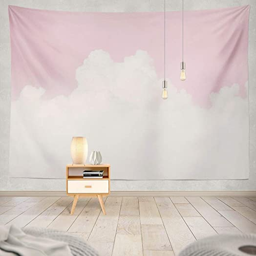 Wall Tapestry Pink, Pink Tapestry White Sky Cloud Pastel Soft Love Valentine Sky Cotton Candy Cloud White Decorative Tapestry,60X80 Inches Wall Hanging Tapestry for Bedroom Living Room