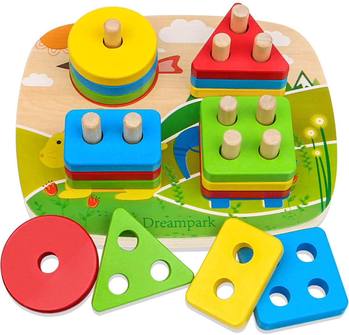 Dreampark Educational Toddler Toys for Boys Girls Age 1 2 3 4 and Up, Wooden Shape Color Recognition Preschool Stack and Sort Geometric Board Blocks for Kids Children, Non-Toxic