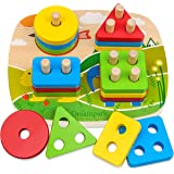 Dreampark Educational Toddler Toys for Boys Girls Age 1 2 3 4 and Up, Wooden Shape Color Recognition Preschool Stack and Sort