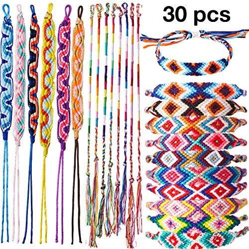 30 Pieces Woven Friendship Bracelets Handmade Boho Braided Bracelets Colorful Adjustable String Bracelets for Women Men