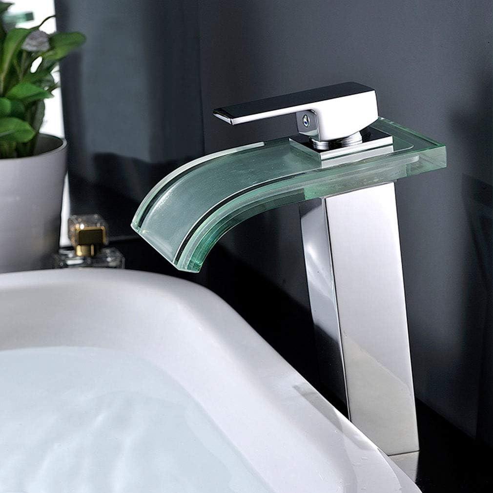QJIAXING Rubinetteria lavabo per Bagno con Illuminazione a LED Cascata in Rame Vetro Controllo Temperatura 3 Cambiare Colore Rubinetto,Chrome,Tall