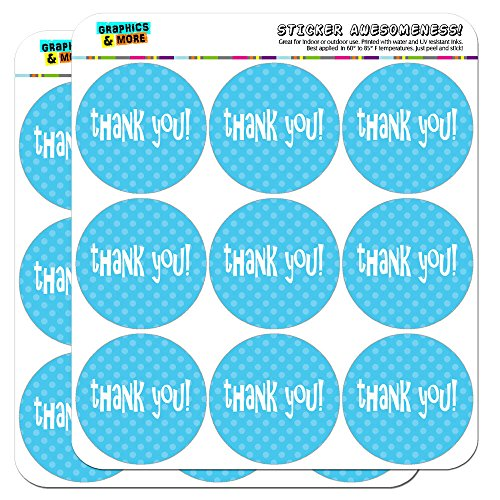 """Thank You Blue Polka Dots 2"""" Scrapbooking Crafting Stickers"""