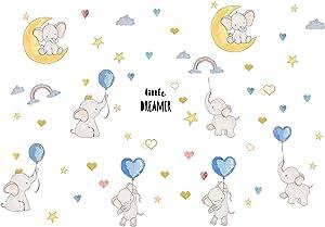 Baby Elephant Nursery Décor 8 Sheet, Wall Decor with Animal, Rainbow, Heart-Shape Balloons, Wall Stickers for Kids, Bedroom Décor for Girls Boys