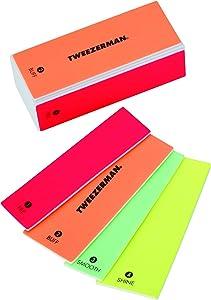 Tweezerman Neon Hot 4-In-1 File, Buff, Smooth & Shine Block Model No. 3491-R