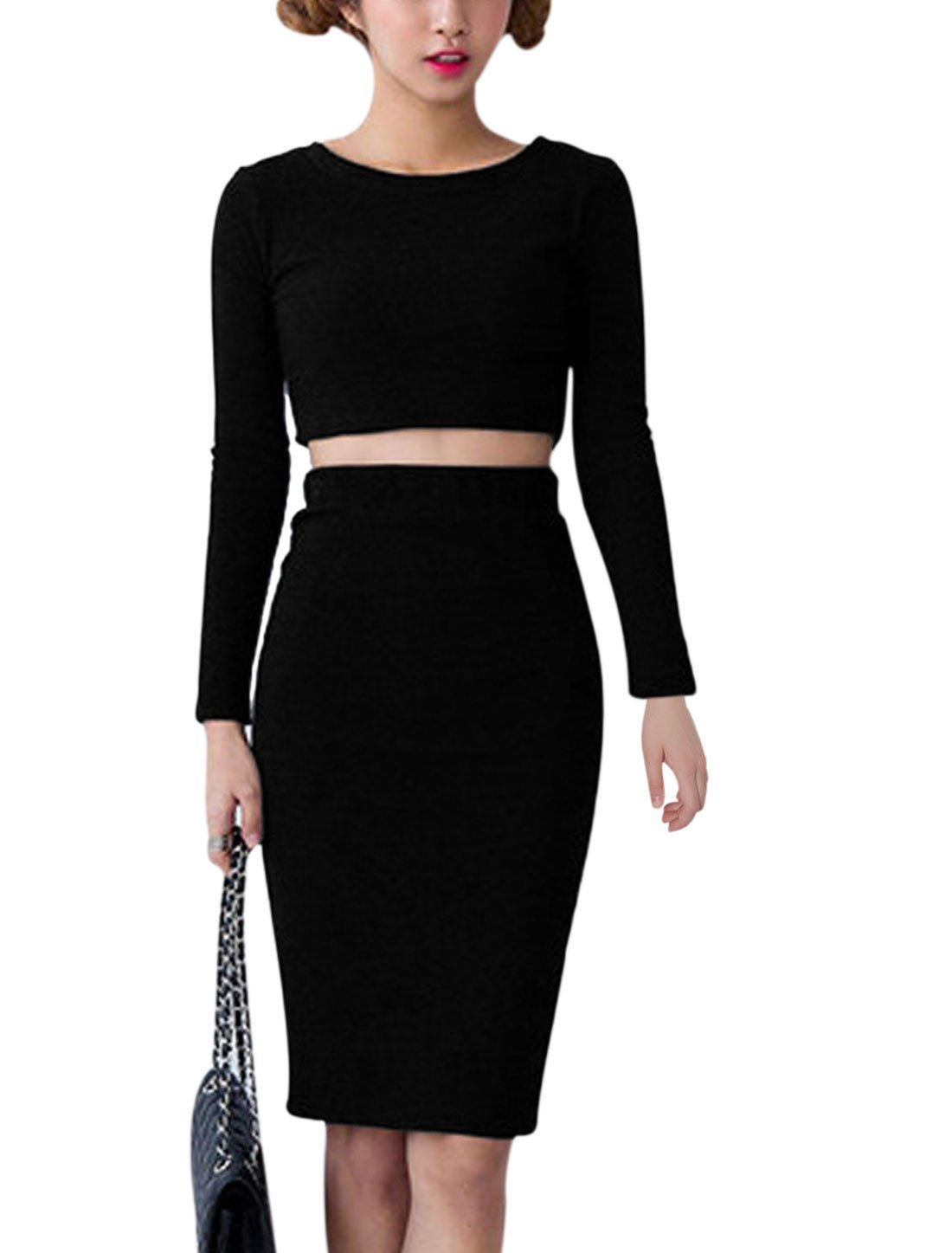 Women Long Sleeve Cropped Top w Elastic Waist Skirt Black S