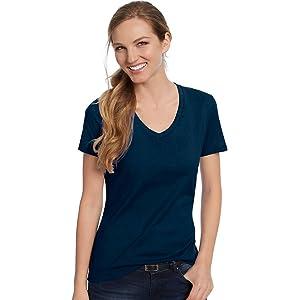 Hanes Women's Nano-T V-Neck T-Shirt_Navy_2XL
