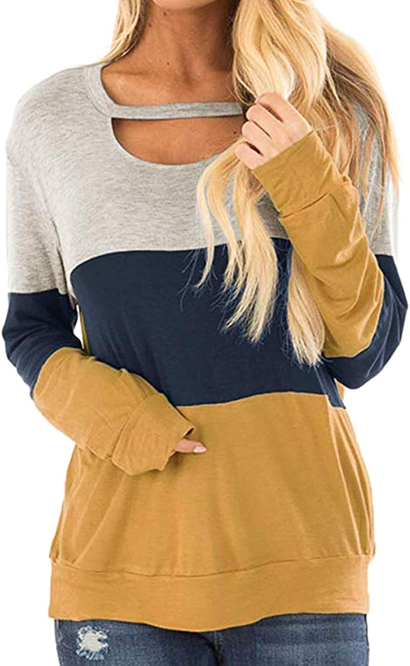 Women's Color Block Long Sleeve Chest Cutout Tunics Shirt Scoop Neck Casual Loose Blouse Tops