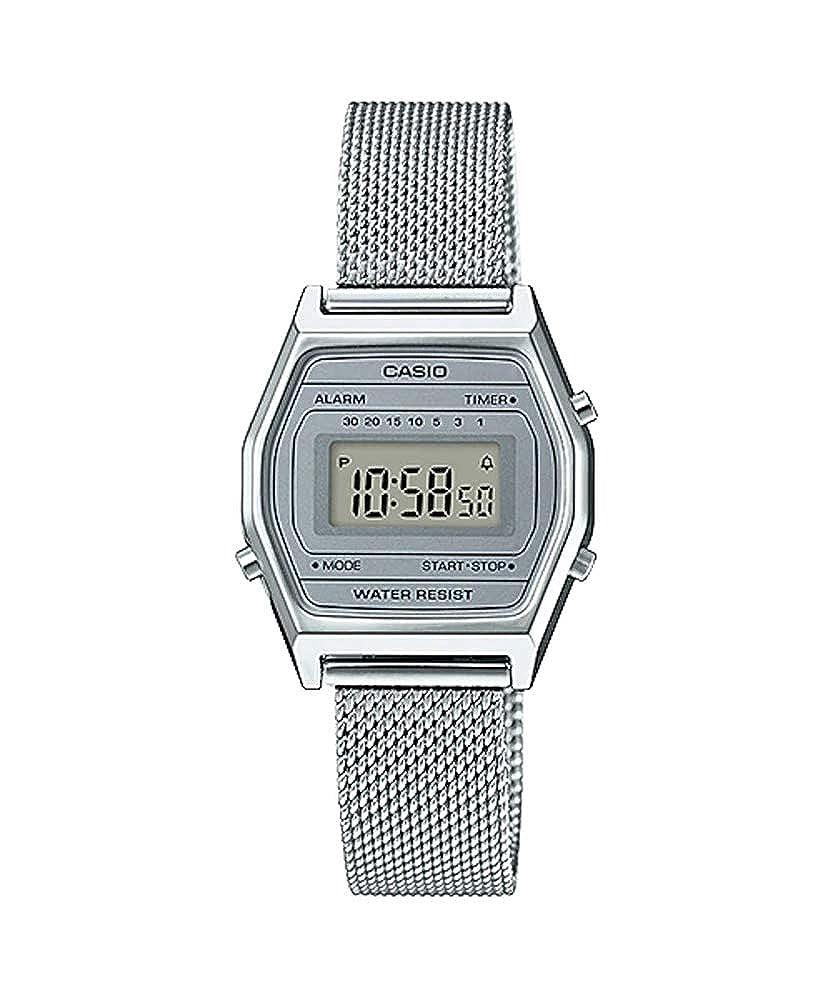 Amazon.com: Casio LA690WEM-7 Womens Vintage Youth Silver Mesh Band Alarm Chronograph Digital Watch: Watches