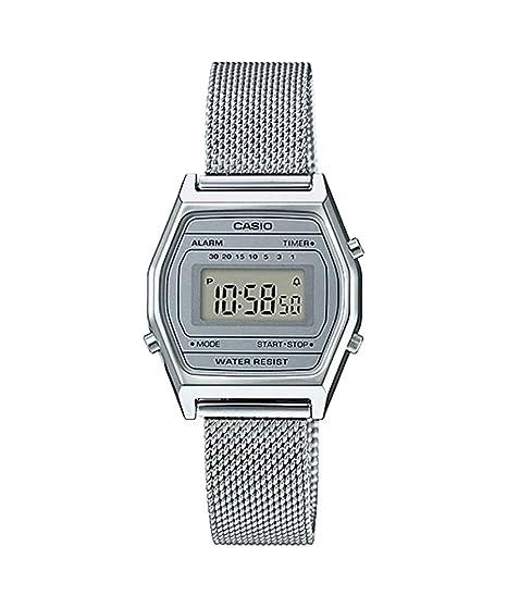 Casio LA690WEM-7 - Reloj Digital con Alarma y cronógrafo de Malla Plateada para Mujer: Amazon.es: Relojes