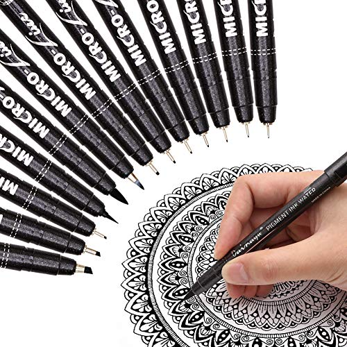 Dainayw Precision Micro-Line Pens, Hand Lettering Pen for Artist Illustration, Technical Drawing, Manga Writing, Calligraphy, Multiliner, Fineline, Scrapbooking, Waterproof Archival Ink, 13 Size Black