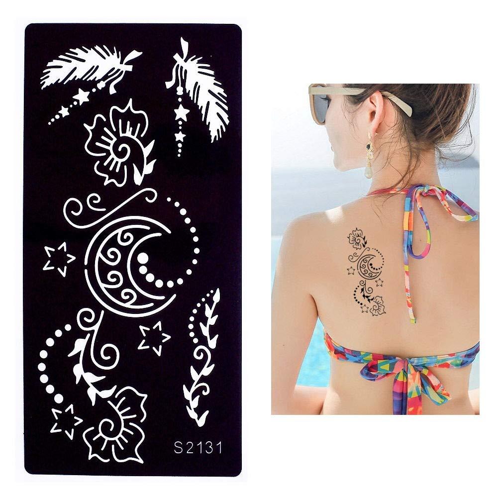 lecoolz Henna Tattoo - Plantilla para aerógrafo, diseño de pluma ...