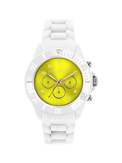 Alienwork Chronosmart Reloj Unisex Relojes Mujer Hombre Silicona blanco Analógicos Cuarzo Calendario Fecha amarillo Impermeable Sport