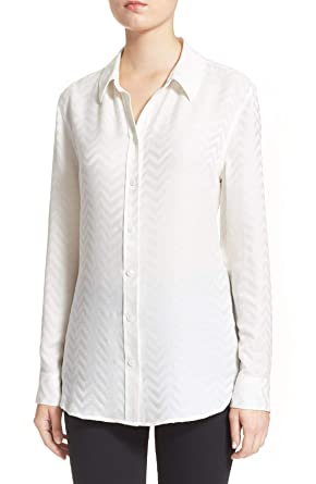 9f755e6613454 Image Unavailable. Image not available for. Color  Equipment Silk Embossed  Chevron-Print Reese White Button Up Shirt Blouse