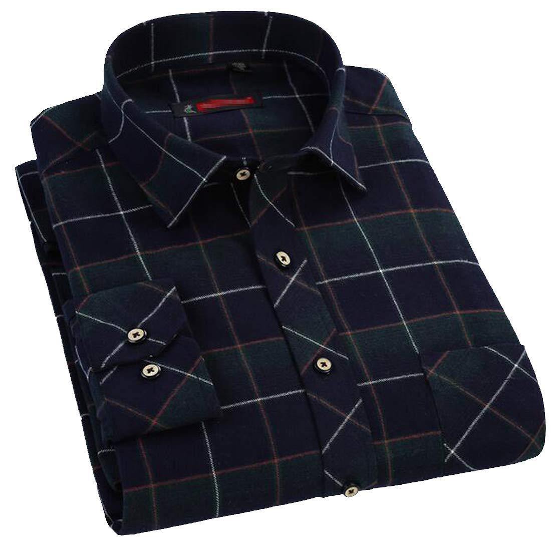 Pivaconis Mens Vintage Plaid Flannel Button Down Long Sleeve Casual Slim Buffalo Shirts