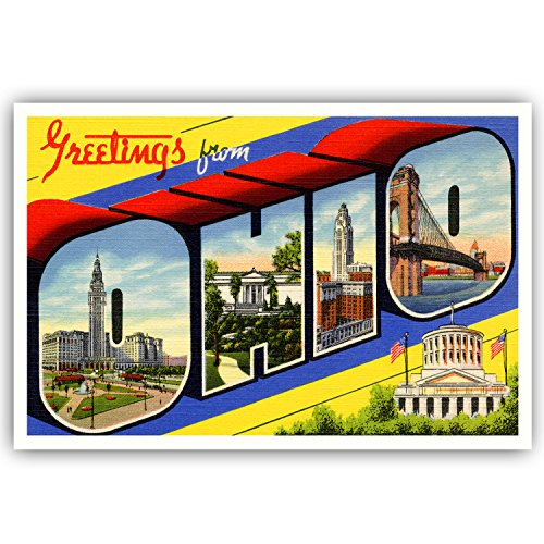GREETINGS FROM OHIO vintage reprint postcard set of 20 identical postcards. Large letter US state name post card pack (ca. 1930's-1940's). Made in (Ohio Post Office)