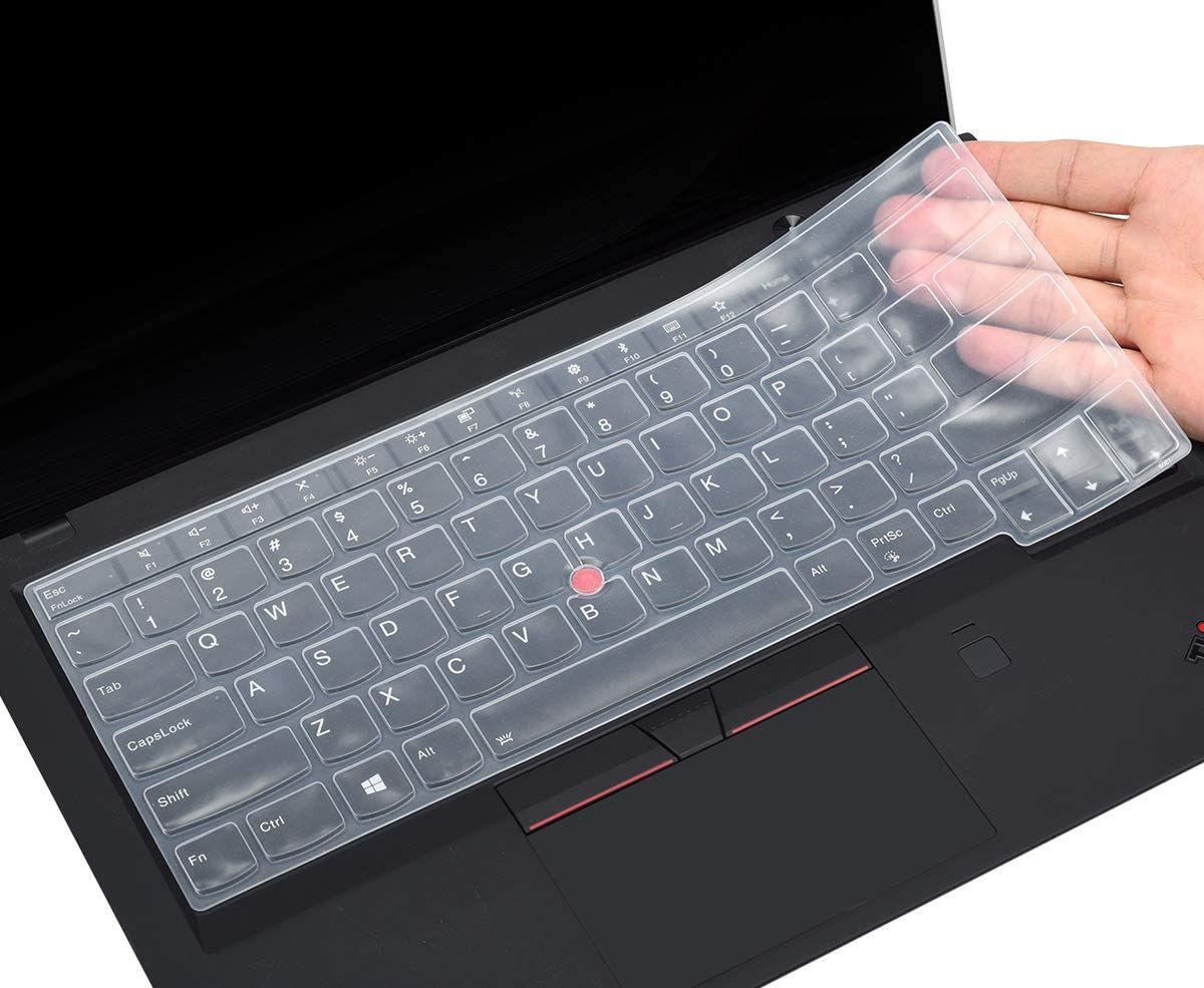 "CaseBuy Keyboard Cover Compatible 2019 2018 2017 Thinkpad X1 Carbon 5th/6th / ThinkPad X1 Yoga 14"" 2017 2018/Thinkpad A475 L460 L470 T460 T460p T460s T470 T470p T470s T480 T480S 14"" Laptop, Clear"