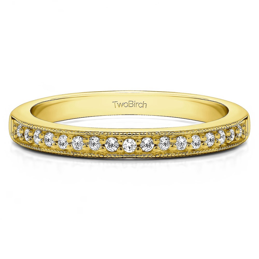 .13Ct Seventeen Stone Millgrained Pave Wedding ring 10k Yellow gold Diamonds G,I2(Size 3 to 15 1/4 Sizes)