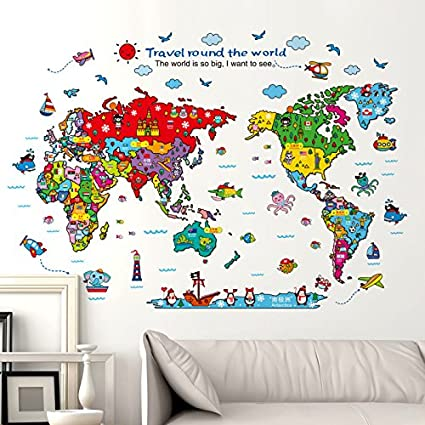 World Map Wall Art Stickers.Amazon Com Cartoon Background Colorful English Words World Map Wall