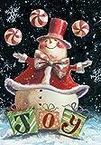 Toland Home Garden Peppermint Snowman 12.5 x 18 Inch Decorative Winter Christmas Joy Garden Flag