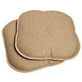 "Sweet Home Collection Memory Foam Honeycomb Non-Slip Back Chair/Seat Cushion Pad (2 Pack), 16 x 16"", Taupe"