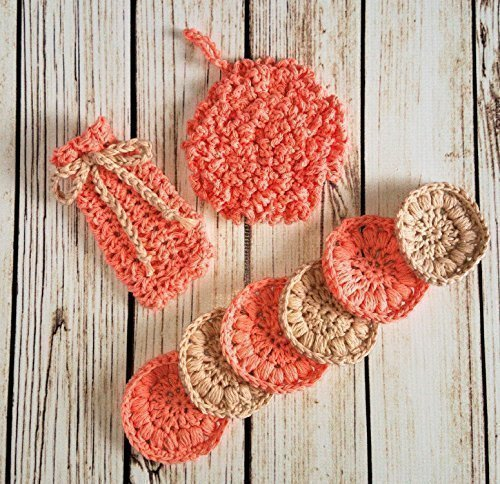 Invigorating yet gentle face and body poufs. Hand crocheted peach and beige colored spa/bath set. Set includes nubby washcloth, soap saver, and reusable facial scrubbies.