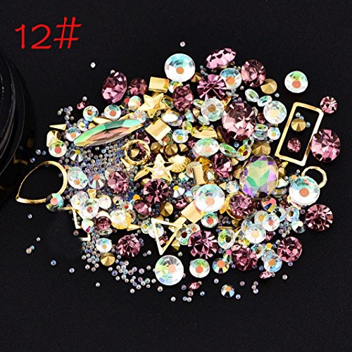 Sharemen 3D Nail Art Decorations Bling Nail Art Rhinestones (L) - Summer Snowflake