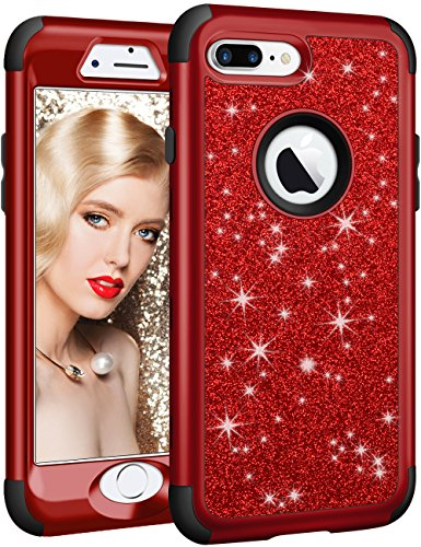 (Vofolen Bling Cover for iPhone 8 Plus Case Glitter Shiny Heavy Duty Protection Full-Body Protective Cover Hard Shell Soft Rubber Armor with Front Bumper for Apple iPhone 8 Plus 7 Plus (Black Red) )