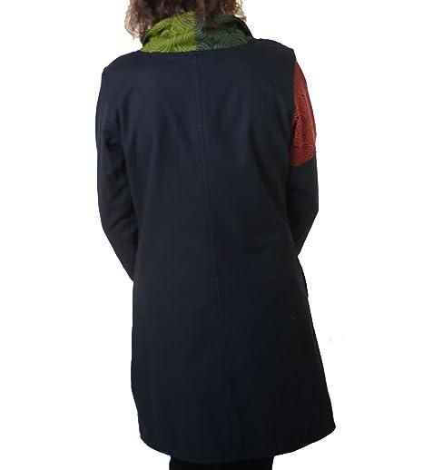6befe0e61511 Kunst und Magie Warmer Patchwork Mantel für Damen aus Baumwolle mit  Trendigen, Bunten Mustern, Size Größe 40(L) Farbe Black Schwarz  Amazon.de   Bekleidung