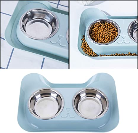 Balacoo Comida Gato Comedero Doble de Acero Inoxidable y Base Antiderrames para Gatos y Perros Cuencos para Comida para Mascotas