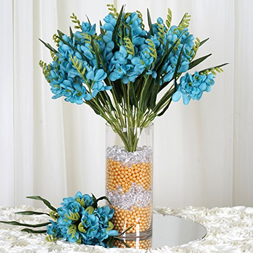 BalsaCircle 216 Turquoise Silk Freesia Flowers - 4 Bushes - Artificial Flowers Wedding Party Centerpieces Arrangements Bouquets Supplies