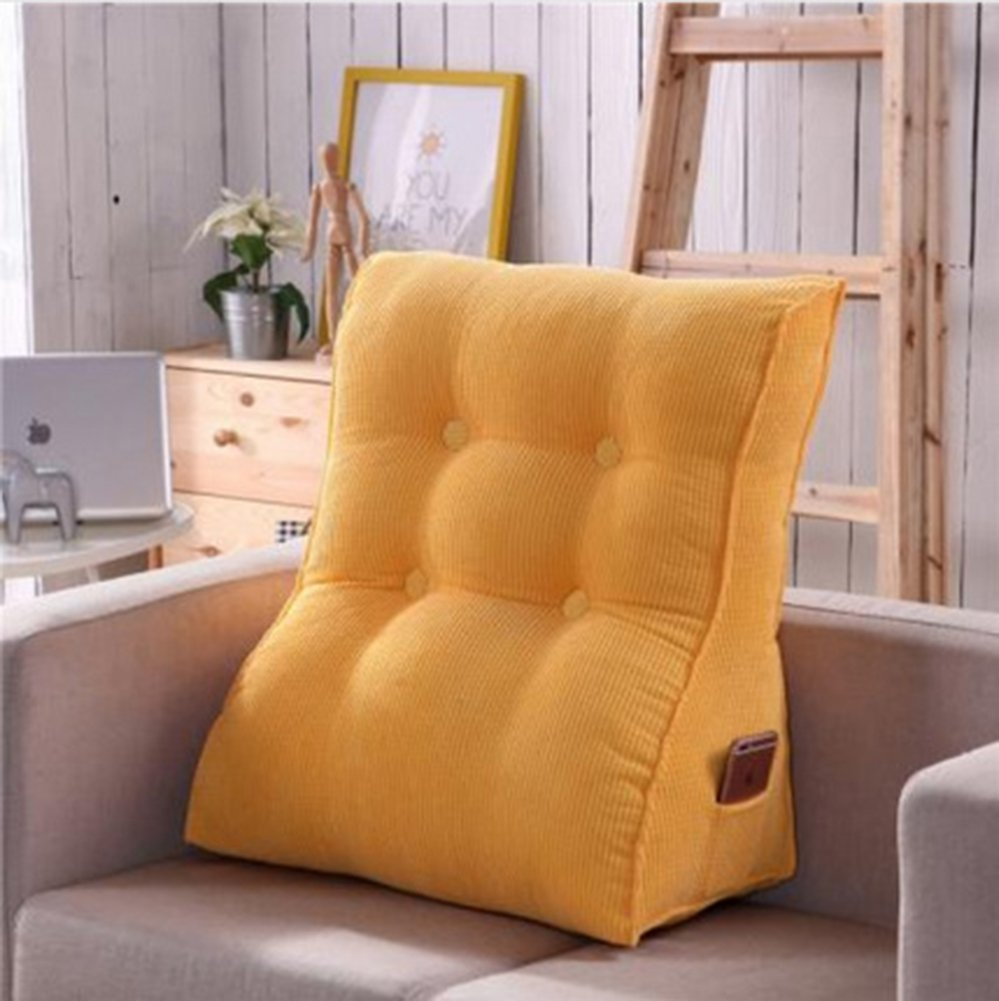 Vercart Sofa Bed Large Upholstered Headboard Filled Triangular Wedge Cushion Bed Backrest Positioning Support Pillow Reading Pillow Office Lumbar Pad with Removable Cover Yellow 22x24 Inches