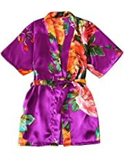 Children's Nightgown Girls Satin Dressing Gown Silk Kimono Robes Bathrobes Sleepwear Dressing Gown Night Lounge Wear Age 5 6 7 8 9 10 11 12 13 14 Years