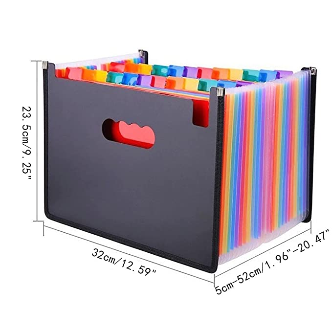 24 Bolsillos A4 Gastando Archivos Carpeta, Grande Arco iris Ampliable Carta Tamaño Archivo Organizador Poseedor, Acordeón Archivo Caja Billetera, ...
