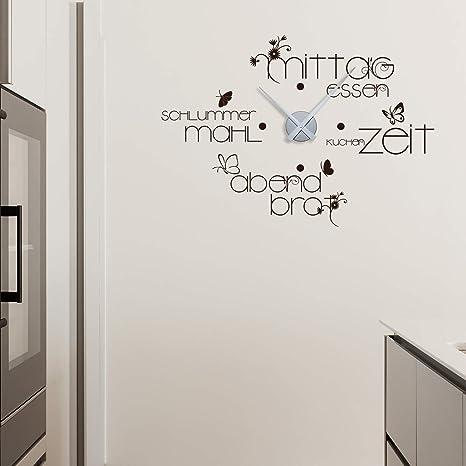 GRAZDesign Wandtattoo Uhr Küche - Wanduhr Esszimmer Mahlzeiten Küchenuhr  79x57cm braun // Uhrwerk Silber