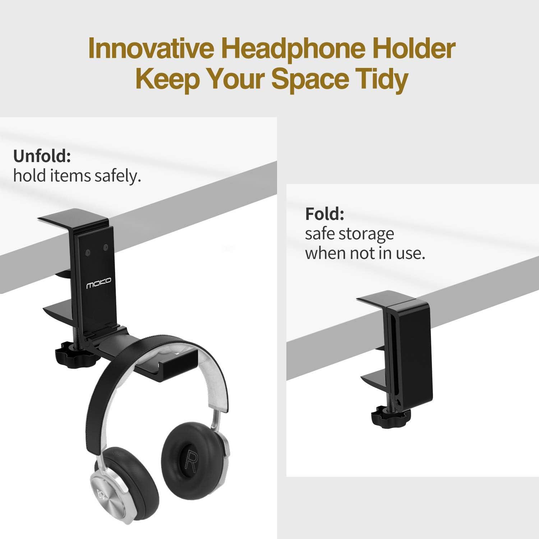 Audio-Technica MoKo Headphone Stand Black Gaming Headphones Sennheiser Universal Aluminum Headphone Foldable Hanger Adjustable Headset Stand Clamp Mount Desk Hook Holder for All Headphone Sizes