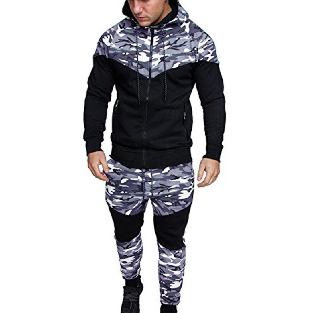TOOPOOT Men's Top Pants Sports Sets,Men New Pocket Hoodie Camouflage Coat Suit Tracksuit (Size:XXXL, Black)