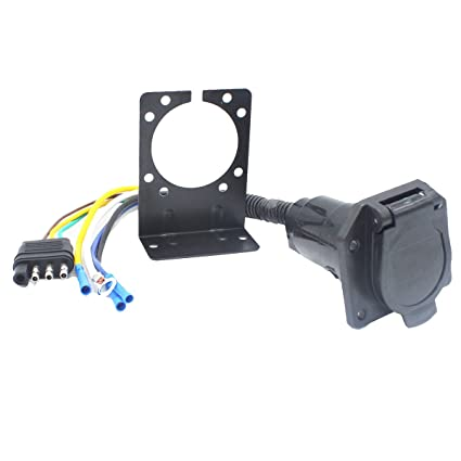 image unavailable  image not available for  color: x-haibei 4 wire flat to  7 way rv trailer light plug wire harness adapter