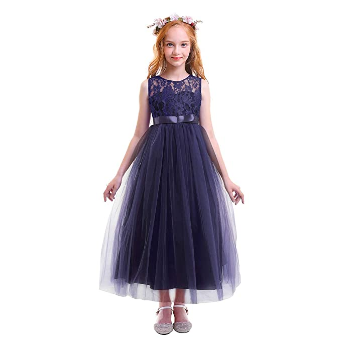 b8920e7449c OBEEII Girls Party Dress Floral Lace Sleeveless Ball Gown for Wedding  Communion Pagent Baptism Cocktail for Kids 4-14 Years  Amazon.co.uk   Clothing