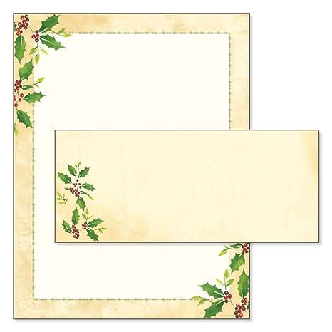 amazon com falling holly christmas stationery matching envelopes