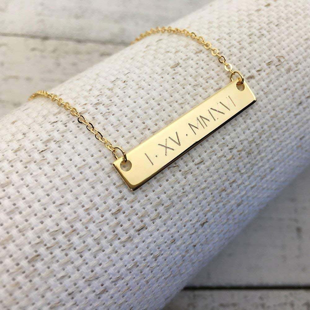 A Same Day Shipping til 3 P.M EST,Wedding Date Necklace -Roman Numerals Engraving,Special date Engraving,Personalized,Anniversary gift,Wedding Gift,Gift for Mom,special date,rose gold engraved