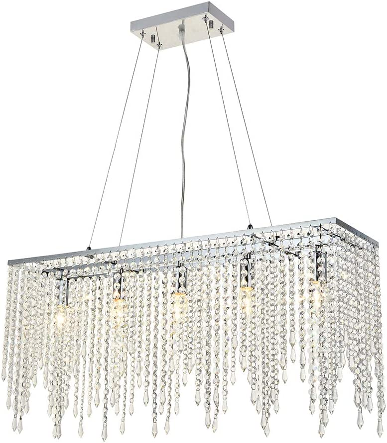 A1A9 Luxury Crystal Chandelier Ceiling Lights, Modern Rectangle Raindrop Elegant Chandeliers Fixture Clear K9 Crystal Romantic LED Pendant Lighting for Livingroom, Dining Room, Foyer, Lounge, Bar