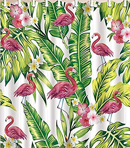 Flamingo Decor Shower Curtain Pink With Tropical Palm Tree Garden Hibiscus Flower Plant