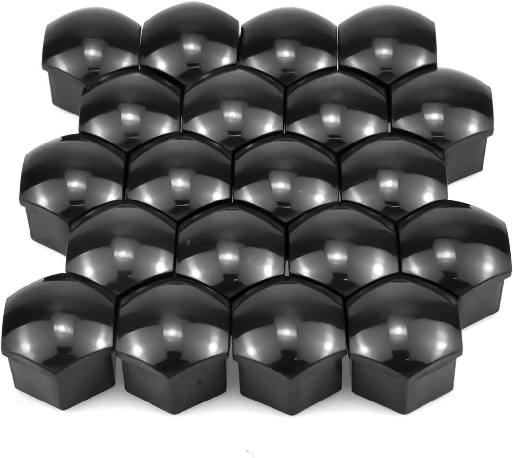 Alto Brillo, Negro 4Pcs Logotipo Central Tapas de Tuerca de Perno de Rueda Tapas de Tuerca de Neum/ático Hexagonales para Te-sla Model 3 Model S Model X Gebildet 20Pcs Tapas de Tuerca de Rueda